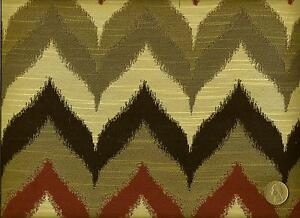 Woven Chevron Flame Stitch Brick Red Olive Gray Upholstery Fabric