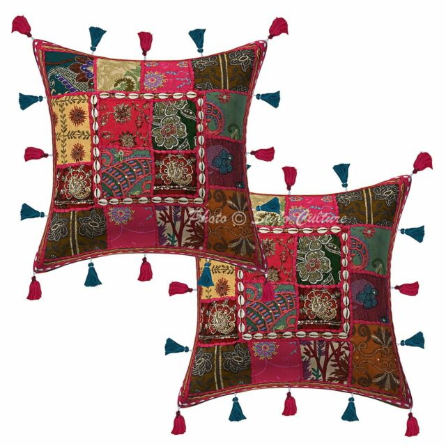 Cotton Handmade Patchwork Kodi Tassels Pillow Cases 16 x 16 Indian Cushion Cover