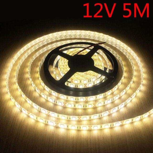 12V Warm Waterproof Flexible LED Strip Lights 5M 300 LED 3528 SMD Light car boat