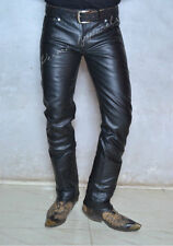 classic causal occasional wear Flair Bell bottom leather jeans pant with 70/'s style front patch pocket made in soft cowhide 517 style