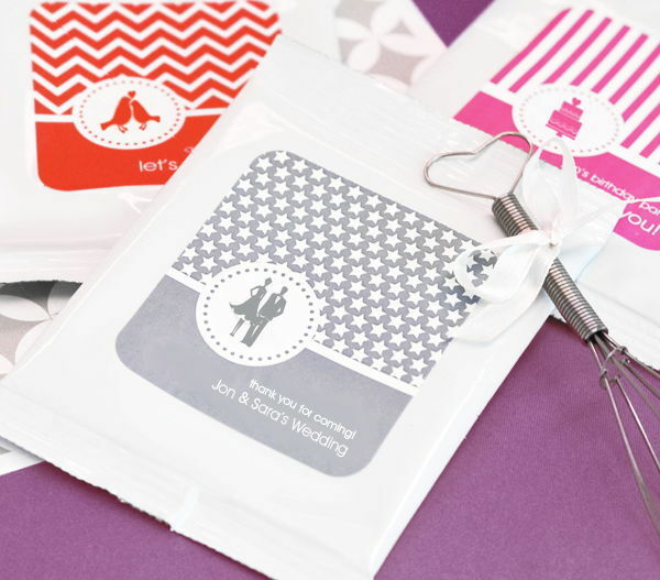 72 Personalized Mod Pattern Wedding Theme Hot Cocoa Mix Pouches Wedding Favors