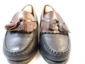 """Allen Edmonds Mens Shoes """"Nashua"""" Tassel Loafers Black w/ Brown Trim 9 D (73)"""