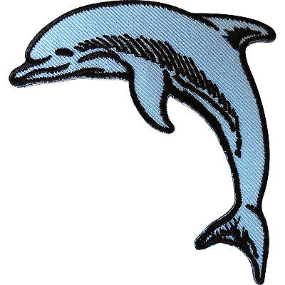 Dolphin Porpoise Patch Fish Embroidered Iron Sew On Swimming Sea Badge Motif