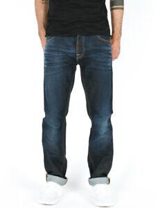 Nudie-Herren-Regular-Straight-Fit-Jeans-Hose-Hank-Rey-Faded-Coated-Indigo