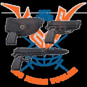 Colt-Pistole-Government-mit-Messer-mit-Guerteltasche-Modell-aus-Metall