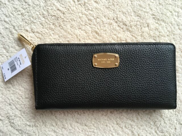 0b924654fde4 MICHAEL KORS JET SET TRAVEL BLACK PEBBLED LEATHER ZIP AROUND WALLET NWT  MSRP 168