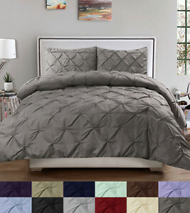 Duvet Cover & Pillow Sham Set - Luxury 3 Piece Pinch Pleat Pintuck Polyester