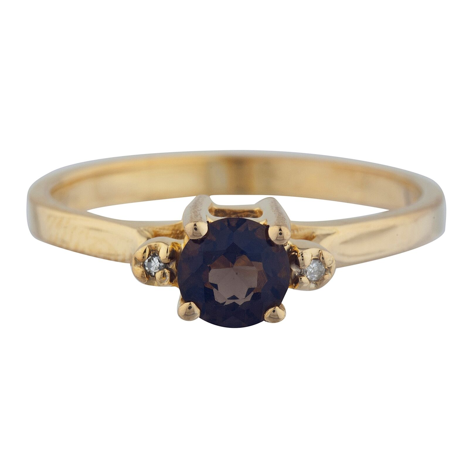 14Kt gold 0.50 Ct Genuine Smoky Topaz & Diamond Round Ring