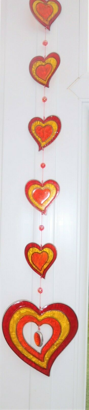 6 HEARTS SUN CATCHER 68 cm STAINED GLASS EFFECT with BEADS with hook