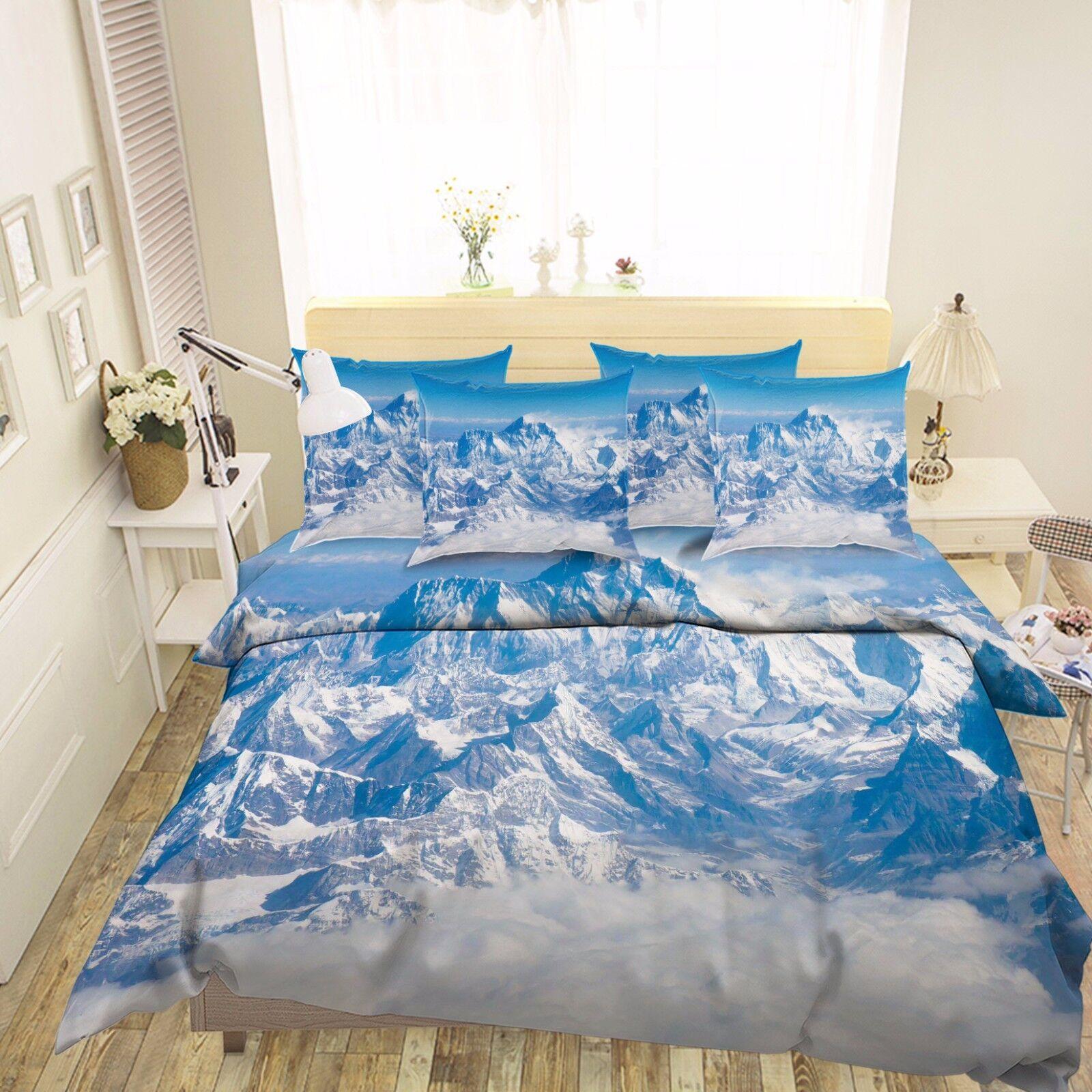 3D Berg Landschaft 59 Bett Kissenbezüge steppen Duvet Decken Set Single DE Carly