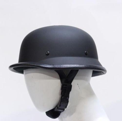 German Novelty Black Half Helmet Skull Cap Matte Flat  Harley Sizes S M L XL 2XL