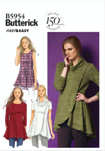 Butterick 5954 Sewing Pattern Knit Top Tunic Package Wear Size XS to 2XL UNCUT