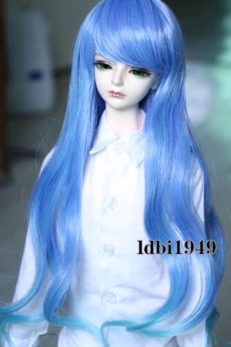 1/4 7-8 LUTS Dollfie SD BJD Doll Wig Long Blue Curly Hair