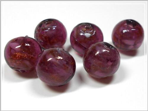 6 Lampwork Perles environ Amethyst goldsand 14 mm perles de verre