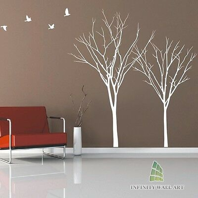 Winter Autumn Tree Birds Lounge Bedroom Wall Art Stickers Tree Wall Decals--P534