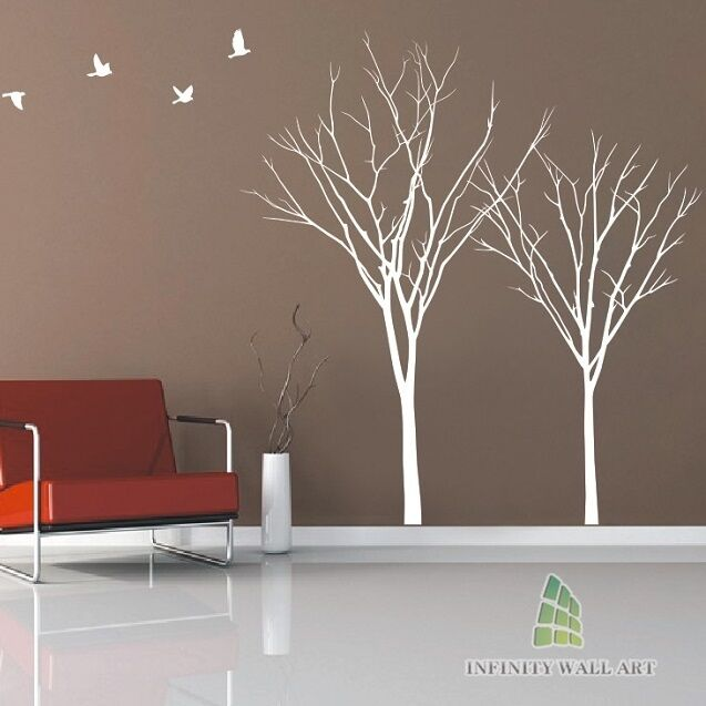 Winter Autumn Tree Birds Lounge Bedroom Wall Art Stickers Tree Wall Decals--P534