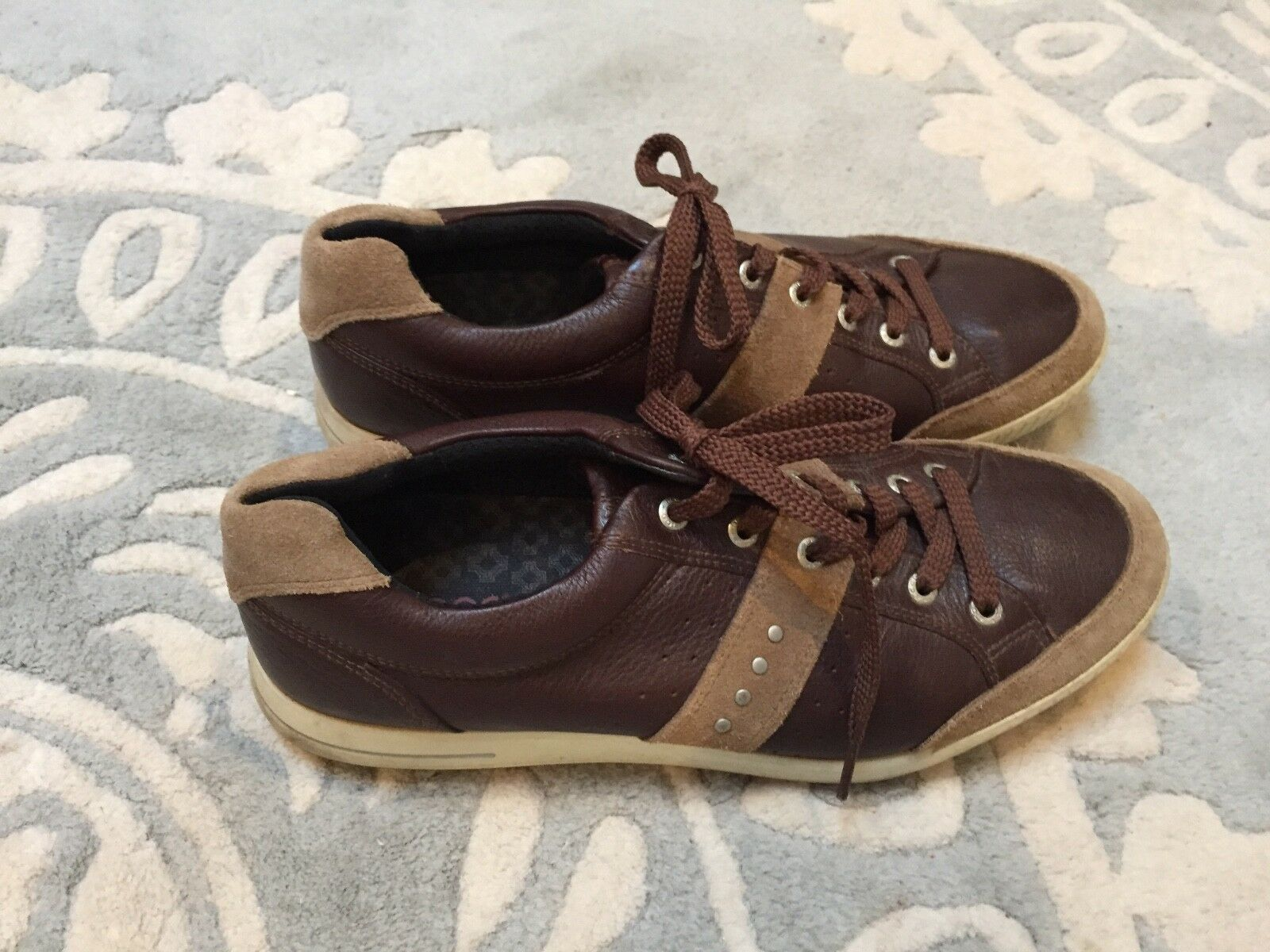 Men's ECCO Brown Leather Suede Sneakers Shoes Size US  US