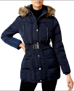 11a3914a50c6d NWT Women Michael Michael Kors Hooded Faux-Fur-Trim Down Belted Navy ...