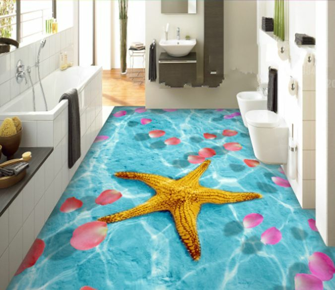 3D Blau Starfish Petal Floor WallPaper Murals Wall Print Decal 5D AJ WALLPAPER