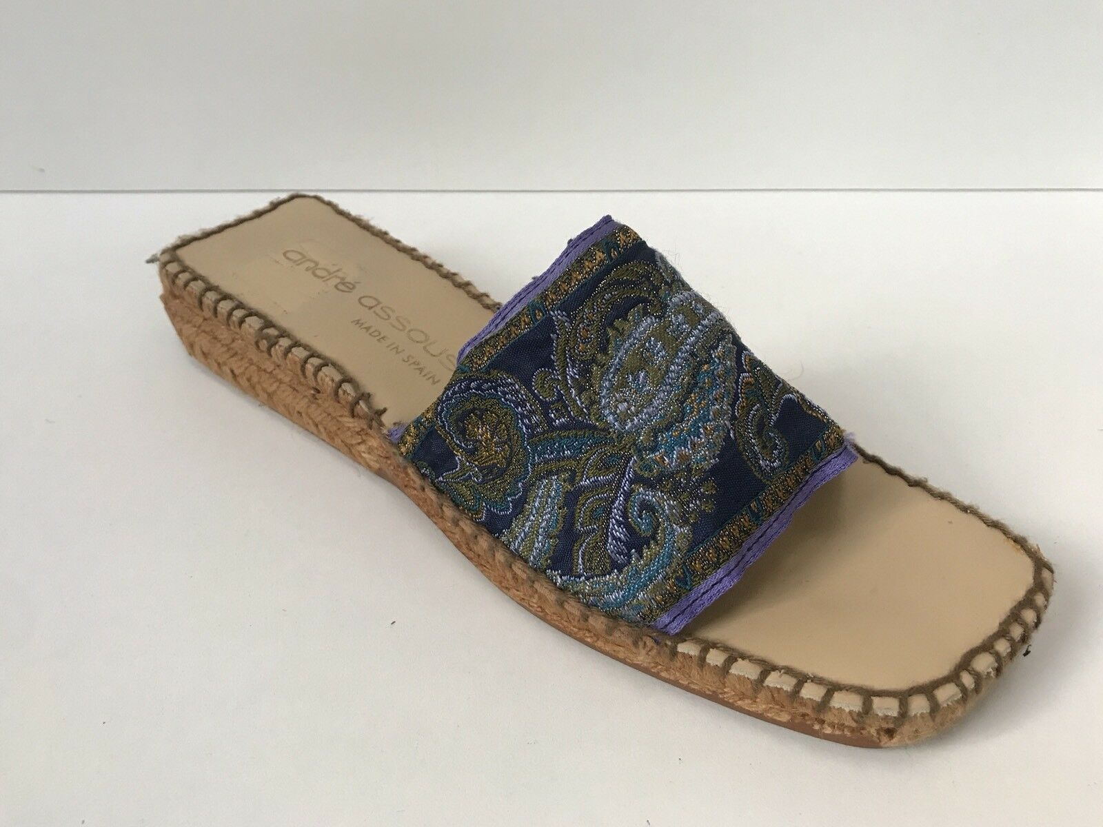 Andre Assous Sz 10 Paisley Fabric In Navy & violet Slip On Espadrille Sandal