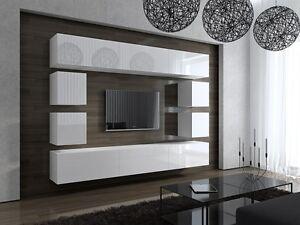 wohnwand future 17 anbauwand m bel tv schrank wohnzimmer hochglanz wei schwarz ebay. Black Bedroom Furniture Sets. Home Design Ideas