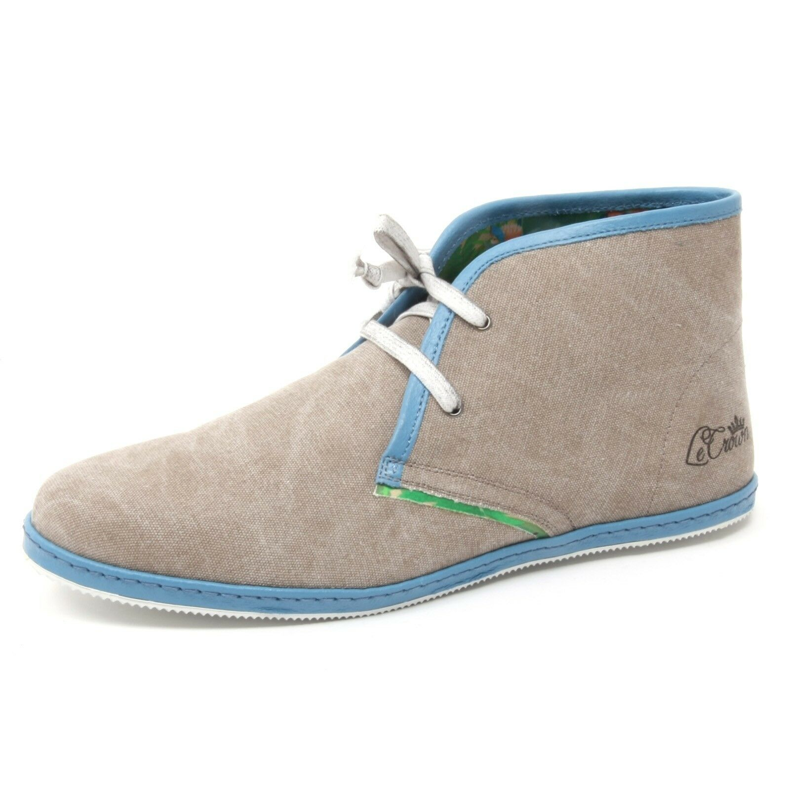 B4004 polacchino uomo LECROWN MILANO DESERT BOOT scarpa beige canvas shoe man