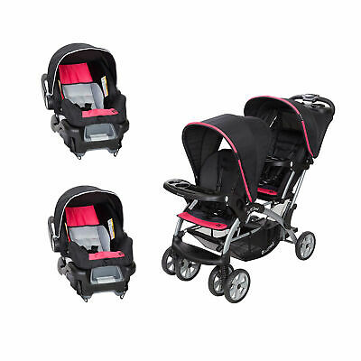 Baby Trend Sit N' Stand Double Stroller and 2 Infant Car ...
