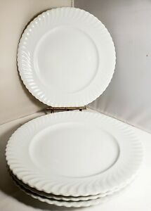 Kaiser-4-PLATES-Nicole-pattern-white-swirl-rim-9-75-034-LUNCHEON-DINNER-PLATES