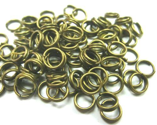 100 SPALTRINGE 5mm Farbe bronze Ringe Metall #S320