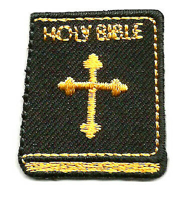 "HOLY BIBLE 1 1/8"" x 1 3/8"" TWILL/EMBROIDERED IRON ON APPLIQUE PATCH"