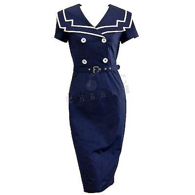 Chic Star Sailor Pencil Dress Rockabilly Pin Up Costume Retro Vintage Cotton