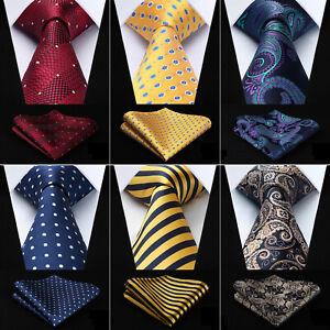 Hisdern-Mens-Tie-3-4-034-Silk-Paisley-Blue-Necktie-Handkerchief-Set-Classic-Wedding