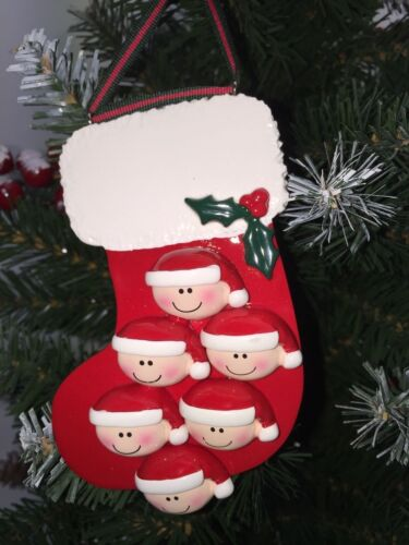 ORNAMENT RED STOCKING 2-6 WITH PETS PERSONALISED CHRISTMAS TREE DECORATION