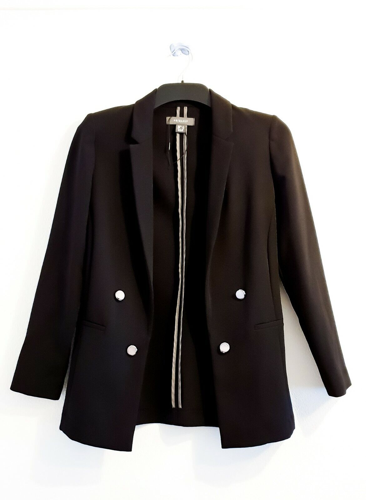 Primark Black Suit Jacket four Dark Silver Buttons Long Sleeve Women Size 4 Used