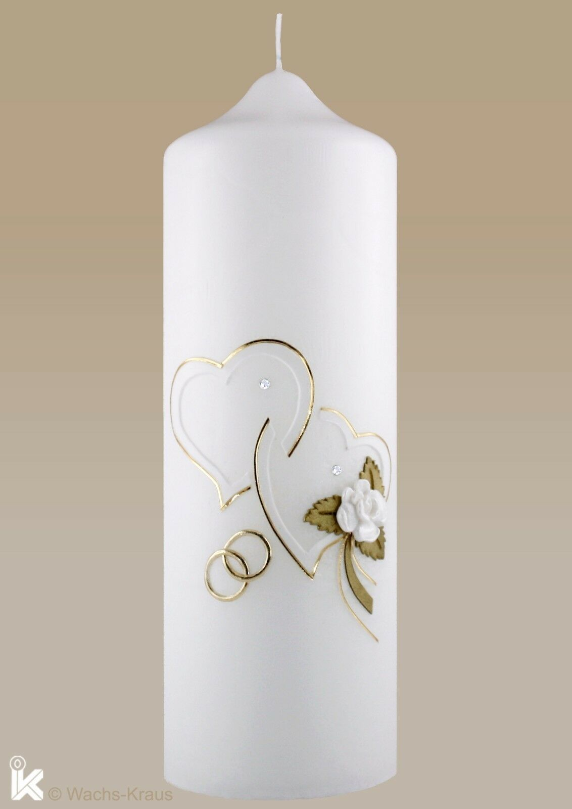 Hochzeitskerze zwei Herzen weiß mit Goldrand