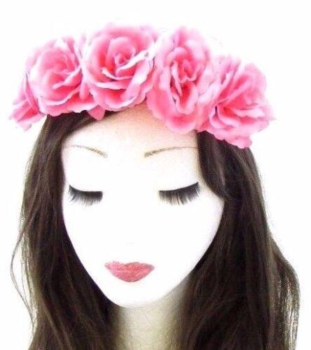 Pink Rose Flower Headband Garland Halloween Hair Crown Sugar Skull Elastic 655