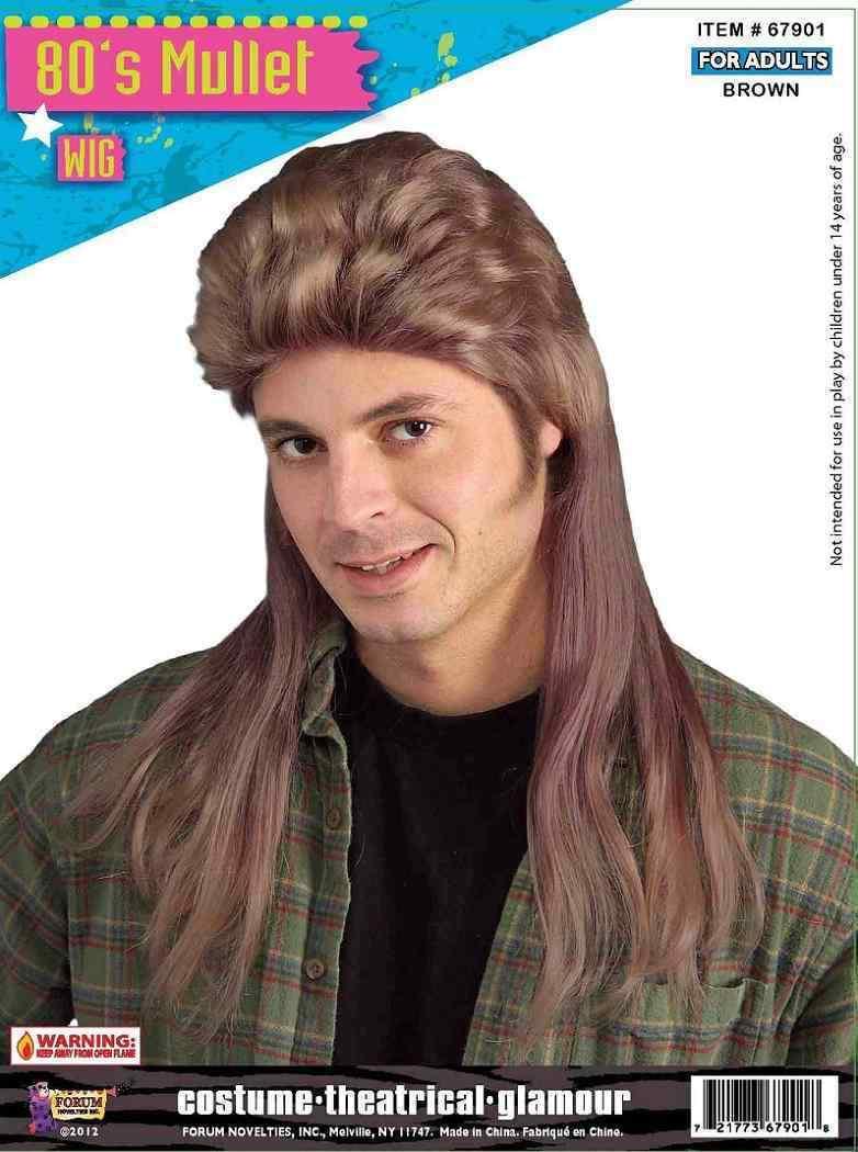 Blonde Brown Linfairy 80s Heavy Metal Halloween Mullet Fancy Dress Wig
