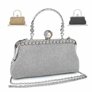 465b0532f0 Image is loading Ladies-Diamante-Clutch-Bag-Pearl-Clasp-Evening-Party-