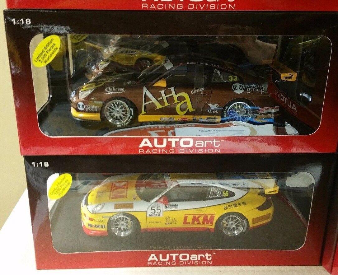 Lot de 2 PORSCHE 911 GT3 RSR Carrera Cup coureurs par Autoart 1 18 80489 & 80785