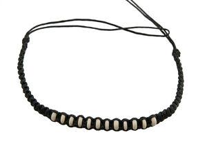 Armband Brasilianisch Knöchel Freundschaft Strang Schwarz Geflochten Perlen Weiß