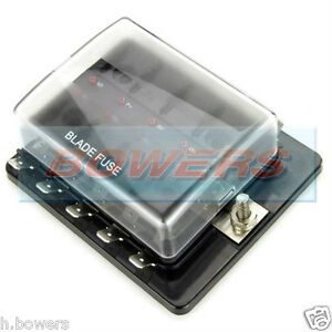 12V 24V 10 WAY BLADE FUSE BOX HOLDER BUS BAR WITH LED