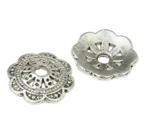 40-Metallperlen-Spacer-10mm-Tibet-silber-Zwischenteile-Perlenkappen-BEST-M235