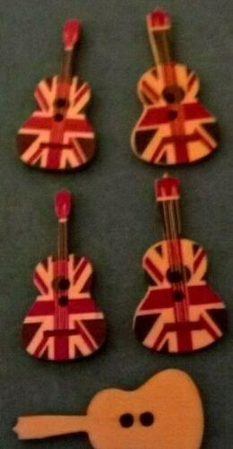 Union Jack Guitarra Diseño Botones 2 Orificios De Madera reverso plano. artesanía bricolaje pasatiempos