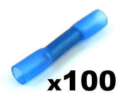 100x Heat Shrink Butt Connectors Blue, Electrical Terminals Wir Haben Lob Von Kunden Gewonnen