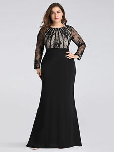 Details about Ever-Pretty Plus Size Lace Sleeve Mermaid Prom Dress Long  Evening Dress Black