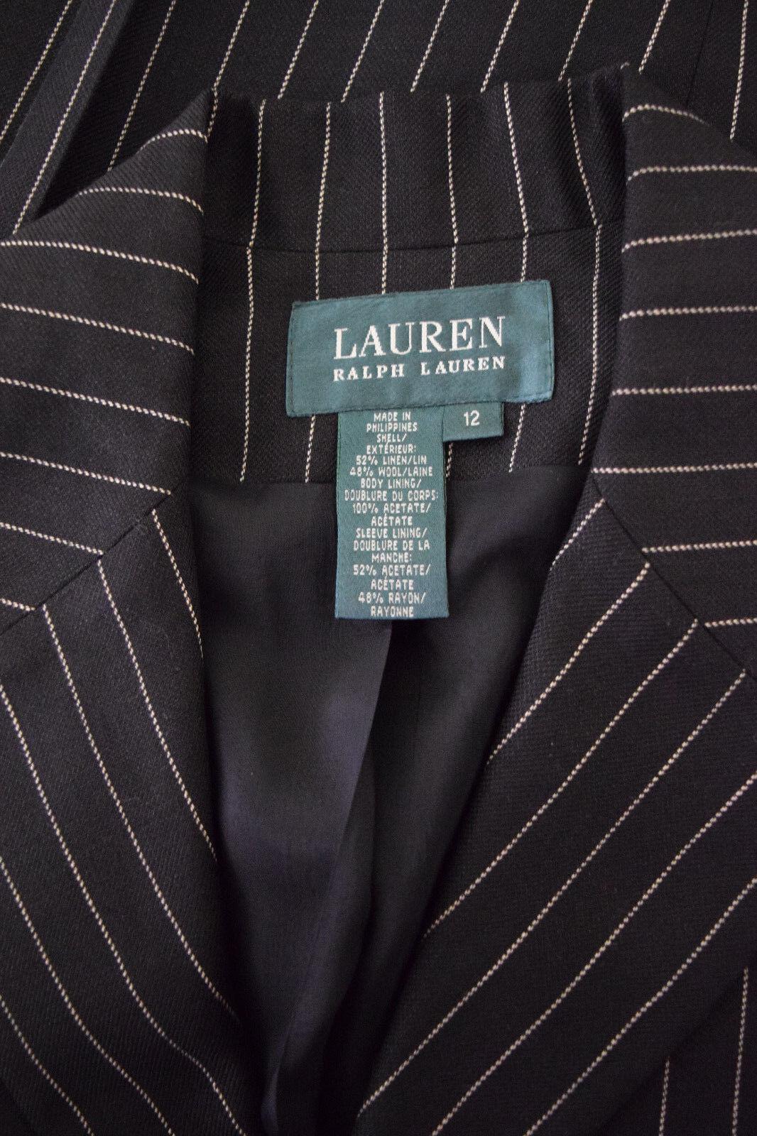 Ralph Lauren Womens Wool linen Black Striped Care… - image 2