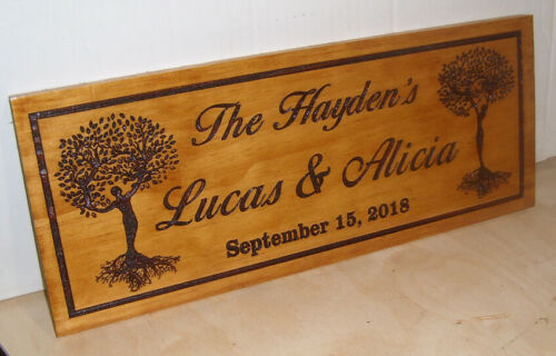Personalized wood Sign.Family-Last-Name-Couple Wedding Gift.Any text Engraved.