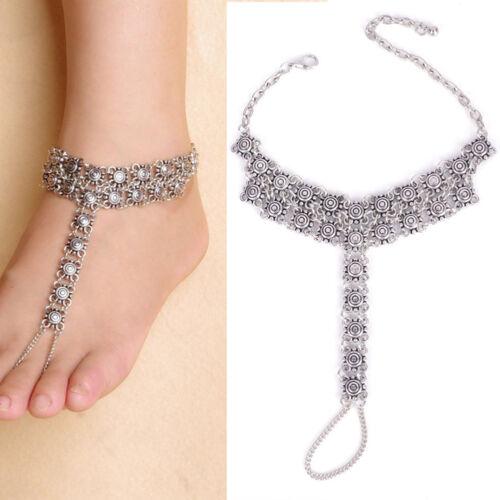 Silber Blumen Fußkette Fußkettchen Fußschmuck Knöchel Fuß Schmuck Armband
