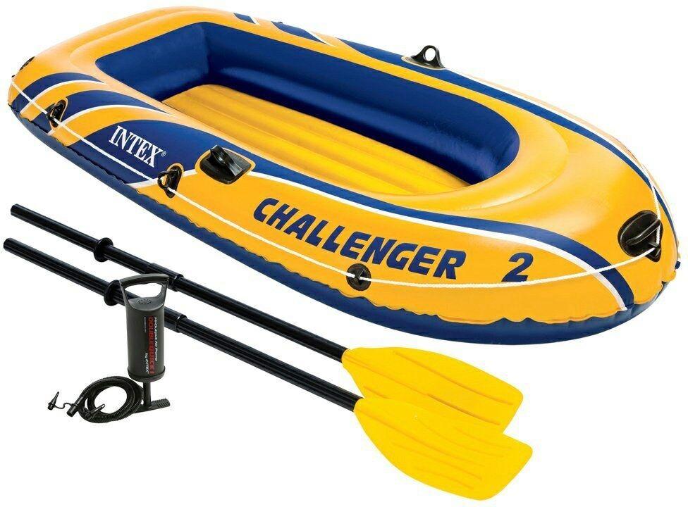 Intex Intex Intex Challenger 2 Boat With Oar And Pump Gelb mit Paddelset Luftpumpe d67378