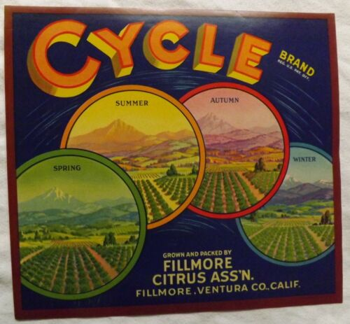 "Venture Co. Fillmore Citrus Ass/'n Cycle/"" Brand Fillmore California ORIGINAL"